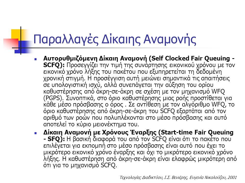 Τεχνολογίες Διαδικτύου, Ι.Σ. Βενιέρης, Ευγενία Νικολούζου, 2001 Παραλλαγές Δίκαιης Αναμονής Αυτορυθμιζόμενη Δίκαιη Αναμονή (Self Clocked Fair Queuing
