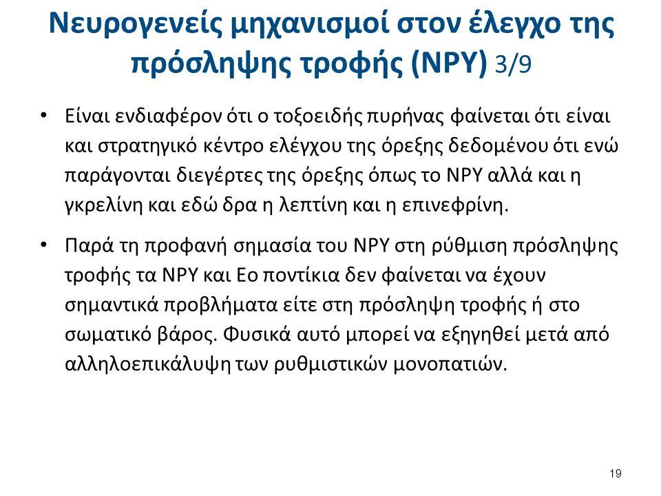 Νευρογενείς μηχανισμοί στον έλεγχο της πρόσληψης τροφής (NPY) 3/9 Είναι ενδιαφέρον ότι ο τοξοειδής πυρήνας φαίνεται ότι είναι και στρατηγικό κέντρο ελ
