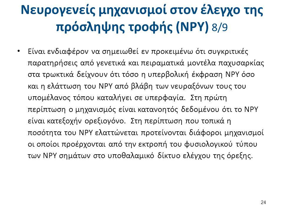 Νευρογενείς μηχανισμοί στον έλεγχο της πρόσληψης τροφής (NPY) 8/9 Είναι ενδιαφέρον να σημειωθεί εν προκειμένω ότι συγκριτικές παρατηρήσεις από γενετικ