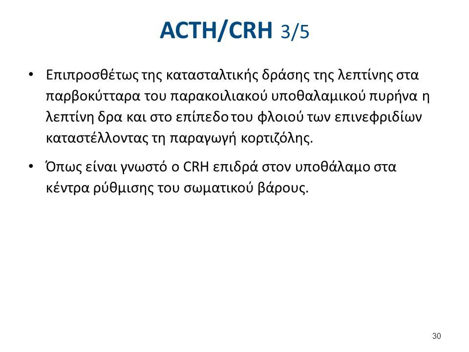 ACTH/CRH 3/5 Επιπροσθέτως της κατασταλτικής δράσης της λεπτίνης στα παρβοκύτταρα του παρακοιλιακού υποθαλαμικού πυρήνα η λεπτίνη δρα και στο επίπεδο τ