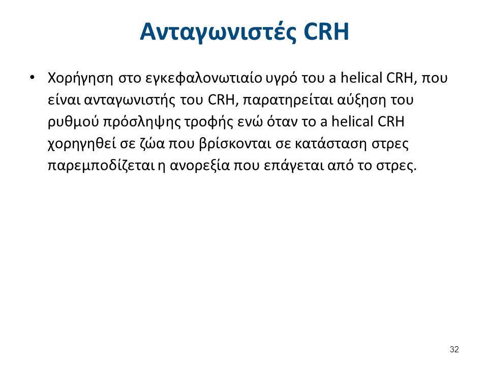 Ανταγωνιστές CRH Χορήγηση στο εγκεφαλονωτιαίο υγρό του a helical CRH, που είναι ανταγωνιστής του CRH, παρατηρείται αύξηση του ρυθμού πρόσληψης τροφής