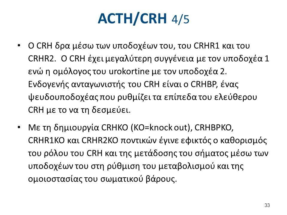 ACTH/CRH 4/5 Ο CRH δρα μέσω των υποδοχέων του, του CRHR1 και του CRHR2. O CRH έχει μεγαλύτερη συγγένεια με τον υποδοχέα 1 ενώ η ομόλογος του urokortin