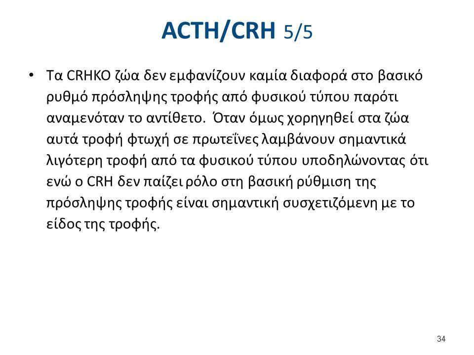 ACTH/CRH 5/5 Τα CRHKO ζώα δεν εμφανίζουν καμία διαφορά στο βασικό ρυθμό πρόσληψης τροφής από φυσικού τύπου παρότι αναμενόταν το αντίθετο. Όταν όμως χο