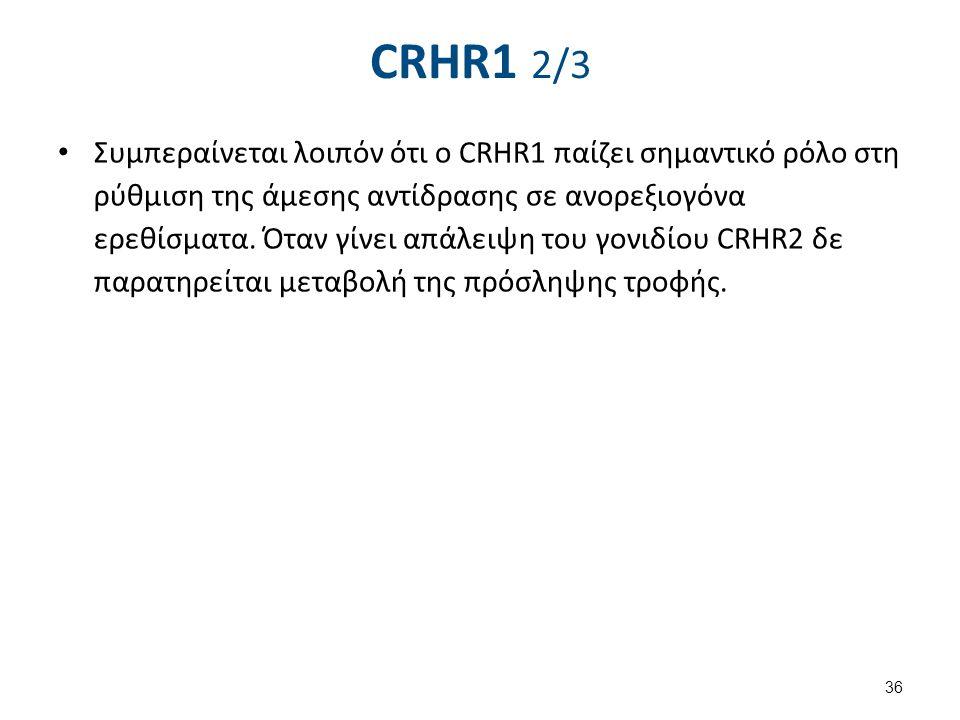 CRHR1 2/3 Συμπεραίνεται λοιπόν ότι ο CRHR1 παίζει σημαντικό ρόλο στη ρύθμιση της άμεσης αντίδρασης σε ανορεξιογόνα ερεθίσματα. Όταν γίνει απάλειψη του