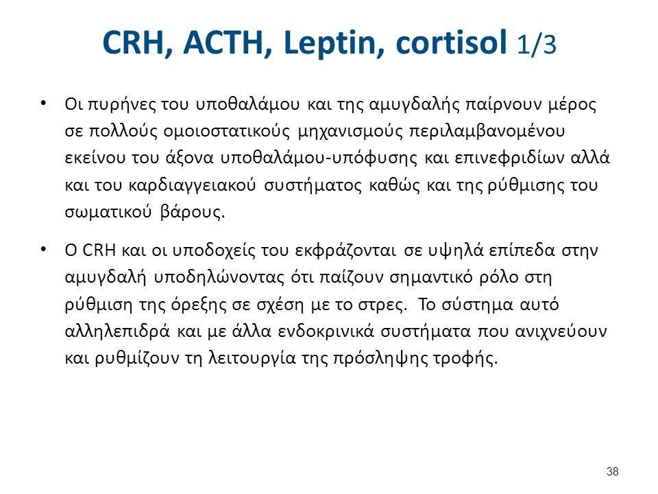 CRH, ACTH, Leptin, cortisol 1/3 Οι πυρήνες του υποθαλάμου και της αμυγδαλής παίρνουν μέρος σε πολλούς ομοιοστατικούς μηχανισμούς περιλαμβανομένου εκεί