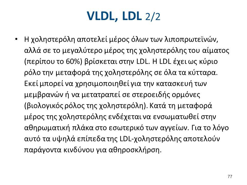 VLDL, LDL 2/2 Η χοληστερόλη αποτελεί μέρος όλων των λιποπρωτεϊνών, αλλά σε το μεγαλύτερο μέρος της χοληστερόλης του αίματος (περίπου το 60%) βρίσκεται