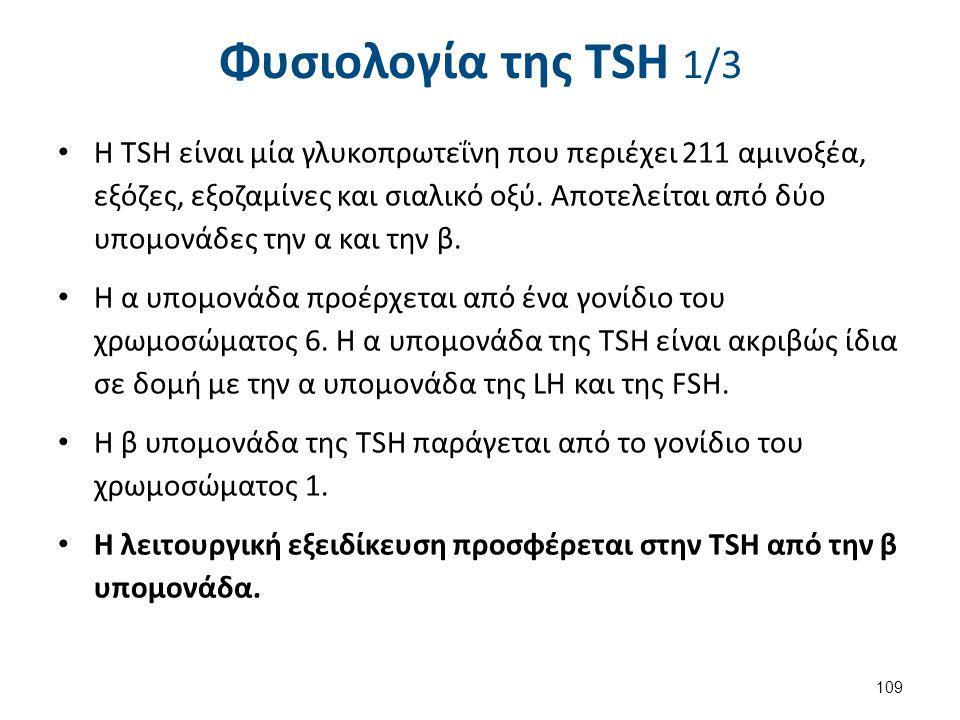 Φυσιολογία της ΤSH 1/3 Η TSH είναι μία γλυκοπρωτεΐνη που περιέχει 211 αμινοξέα, εξόζες, εξοζαμίνες και σιαλικό οξύ. Αποτελείται από δύο υπομονάδες την
