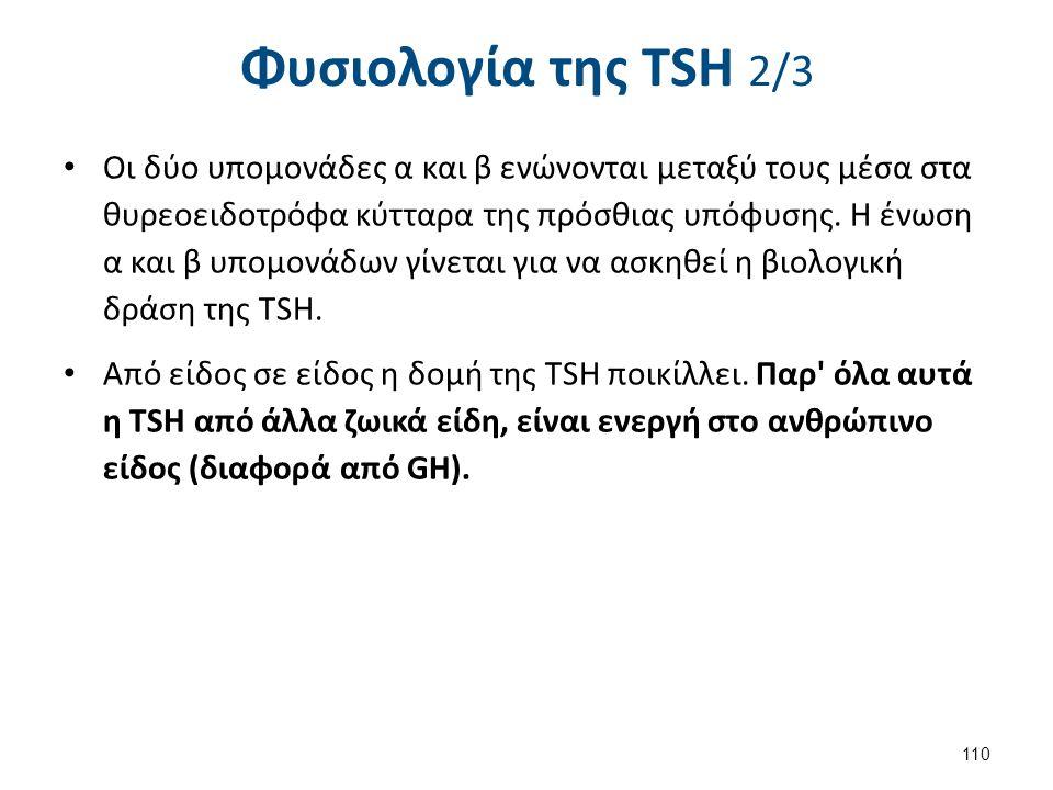 Φυσιολογία της ΤSH 2/3 Οι δύο υπομονάδες α και β ενώνονται μεταξύ τους μέσα στα θυρεοειδοτρόφα κύτταρα της πρόσθιας υπόφυσης. Η ένωση α και β υπομονάδ