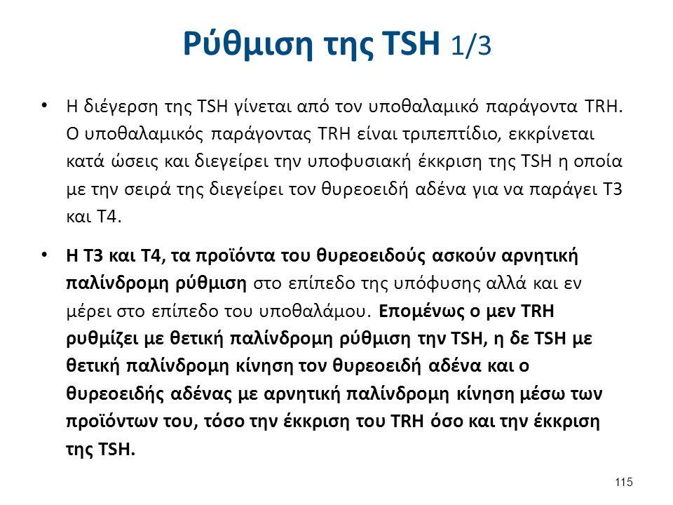 Ρύθμιση της TSH 1/3 Η διέγερση της TSH γίνεται από τον υποθαλαμικό παράγοντα TRH. Ο υποθαλαμικός παράγοντας TRH είναι τριπεπτίδιο, εκκρίνεται κατά ώσε