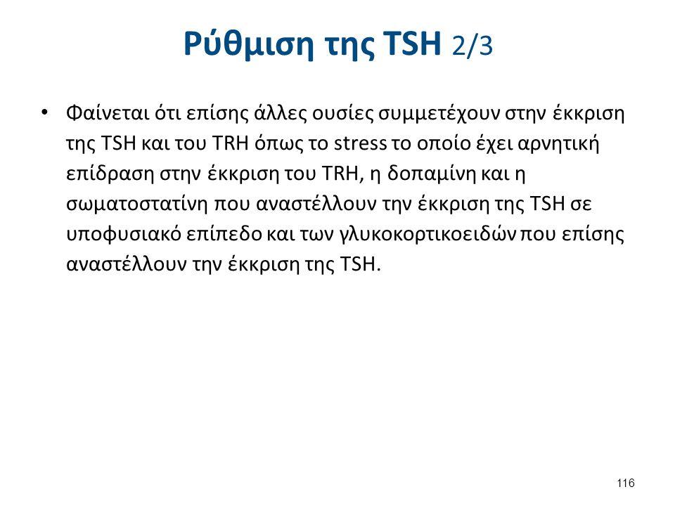 Ρύθμιση της TSH 2/3 Φαίνεται ότι επίσης άλλες ουσίες συμμετέχουν στην έκκριση της TSH και του TRH όπως το stress το οποίο έχει αρνητική επίδραση στην
