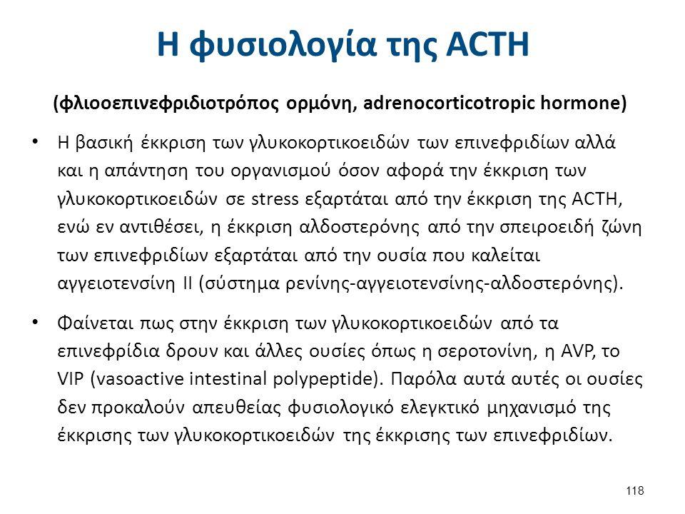 Η φυσιολογία της ACΤH (φλιοοεπινεφριδιοτρόπος ορμόνη, adrenocorticotropic hormone) Η βασική έκκριση των γλυκοκορτικοειδών των επινεφριδίων αλλά και η