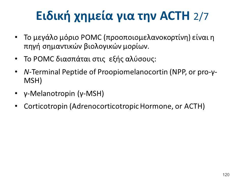 Ειδική χημεία για την ACΤH 2/7 Το μεγάλο μόριο POMC (προοποιομελανοκορτίνη) είναι η πηγή σημαντικών βιολογικών μορίων. Το POMC διασπάται στις εξής αλύ
