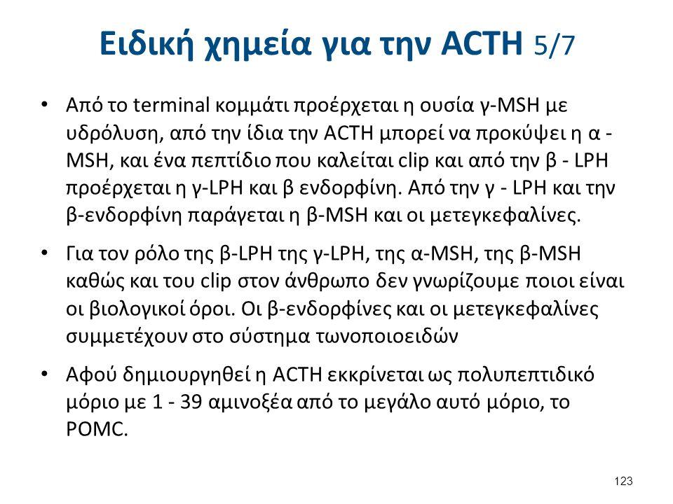Ειδική χημεία για την ACΤH 5/7 Από το terminal κομμάτι προέρχεται η ουσία γ-MSH με υδρόλυση, από την ίδια την ACTH μπορεί να προκύψει η α - MSH, και έ