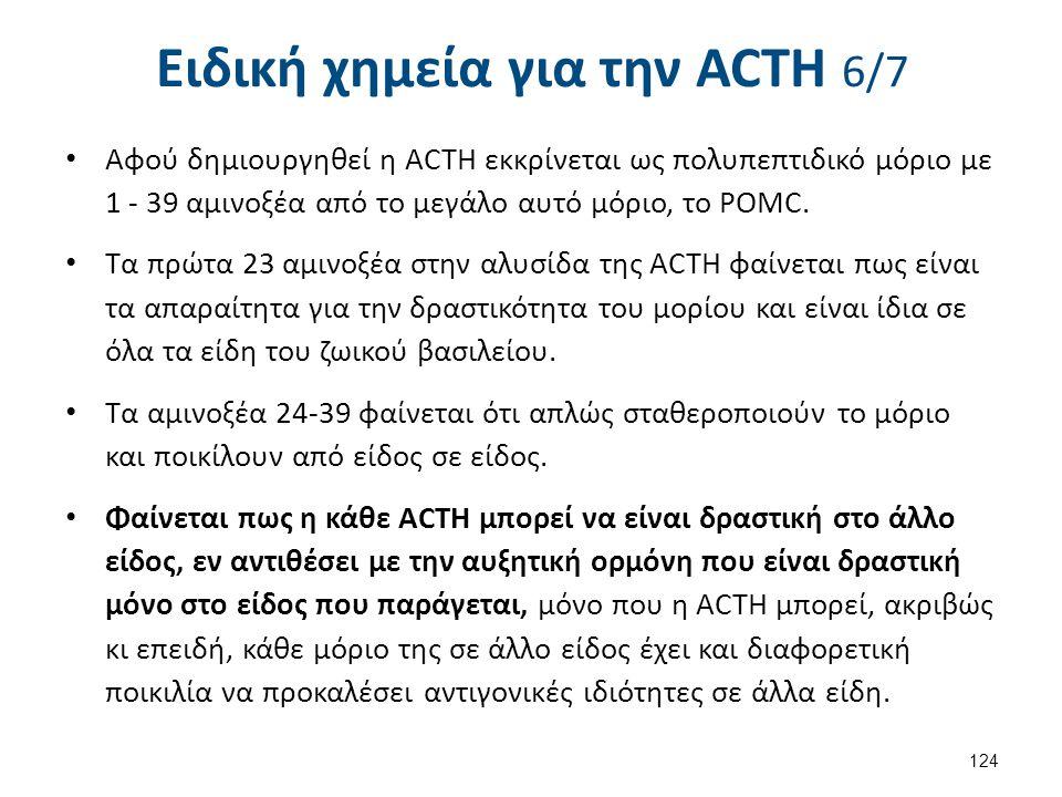 Ειδική χημεία για την ACΤH 6/7 Αφού δημιουργηθεί η ACTH εκκρίνεται ως πολυπεπτιδικό μόριο με 1 - 39 αμινοξέα από το μεγάλο αυτό μόριο, το POMC. Τα πρώ