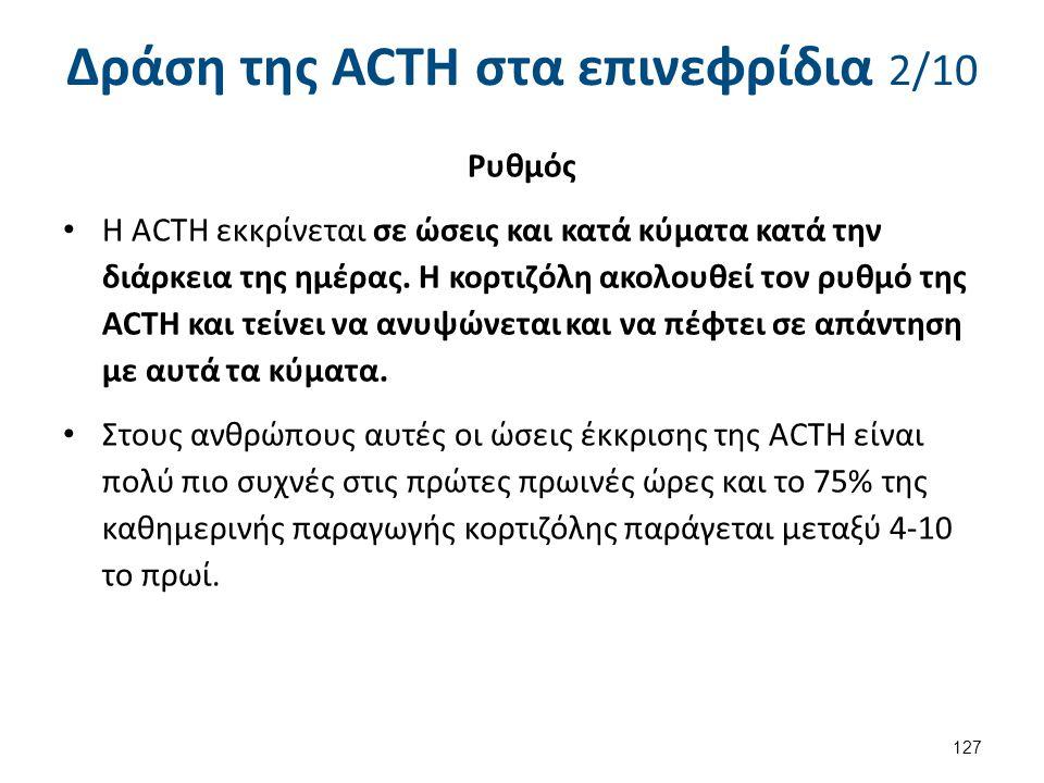 Δράση της ACTH στα επινεφρίδια 2/10 Ρυθμός Η ACTH εκκρίνεται σε ώσεις και κατά κύματα κατά την διάρκεια της ημέρας. Η κορτιζόλη ακολουθεί τον ρυθμό τη