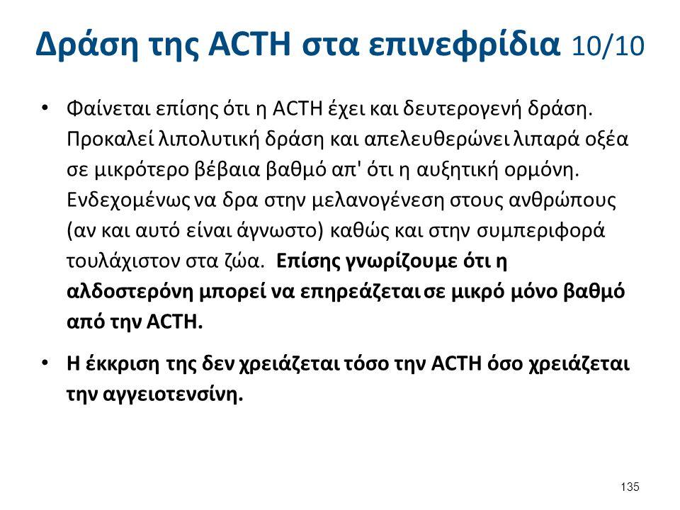 Δράση της ACTH στα επινεφρίδια 10/10 Φαίνεται επίσης ότι η ACTH έχει και δευτερογενή δράση. Προκαλεί λιπολυτική δράση και απελευθερώνει λιπαρά οξέα σε