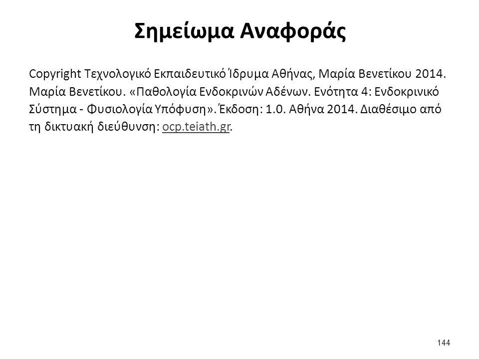 Σημείωμα Αναφοράς Copyright Τεχνολογικό Εκπαιδευτικό Ίδρυμα Αθήνας, Μαρία Βενετίκου 2014. Μαρία Βενετίκου. «Παθολογία Ενδοκρινών Αδένων. Ενότητα 4: Εν