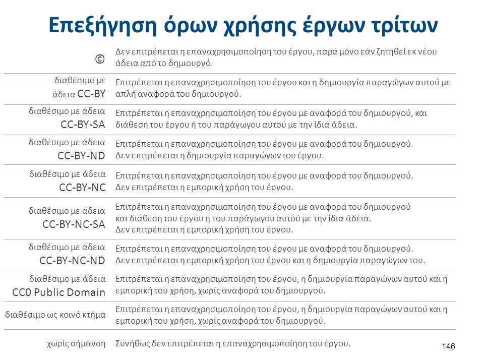 Επεξήγηση όρων χρήσης έργων τρίτων 146 Δεν επιτρέπεται η επαναχρησιμοποίηση του έργου, παρά μόνο εάν ζητηθεί εκ νέου άδεια από το δημιουργό. © διαθέσι