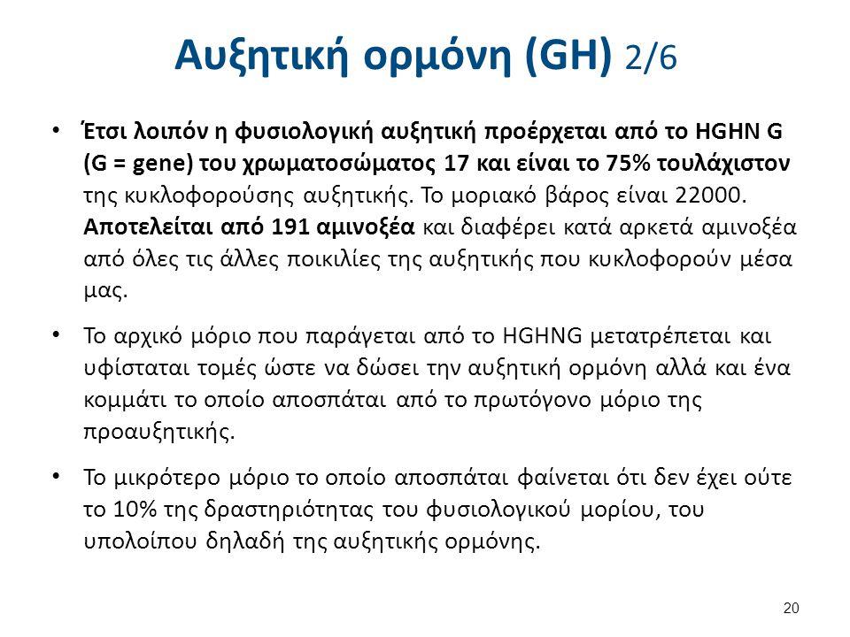 Αυξητική ορμόνη (GH) 2/6 Έτσι λοιπόν η φυσιολογική αυξητική προέρχεται από το HGHN G (G = gene) του χρωματοσώματος 17 και είναι το 75% τουλάχιστον της