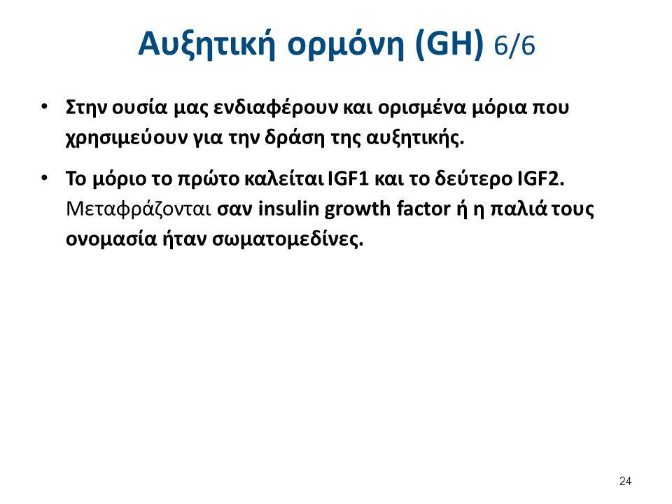 Αυξητική ορμόνη (GH) 6/6 Στην ουσία μας ενδιαφέρουν και ορισμένα μόρια που χρησιμεύουν για την δράση της αυξητικής. Το μόριο το πρώτο καλείται IGF1 κα
