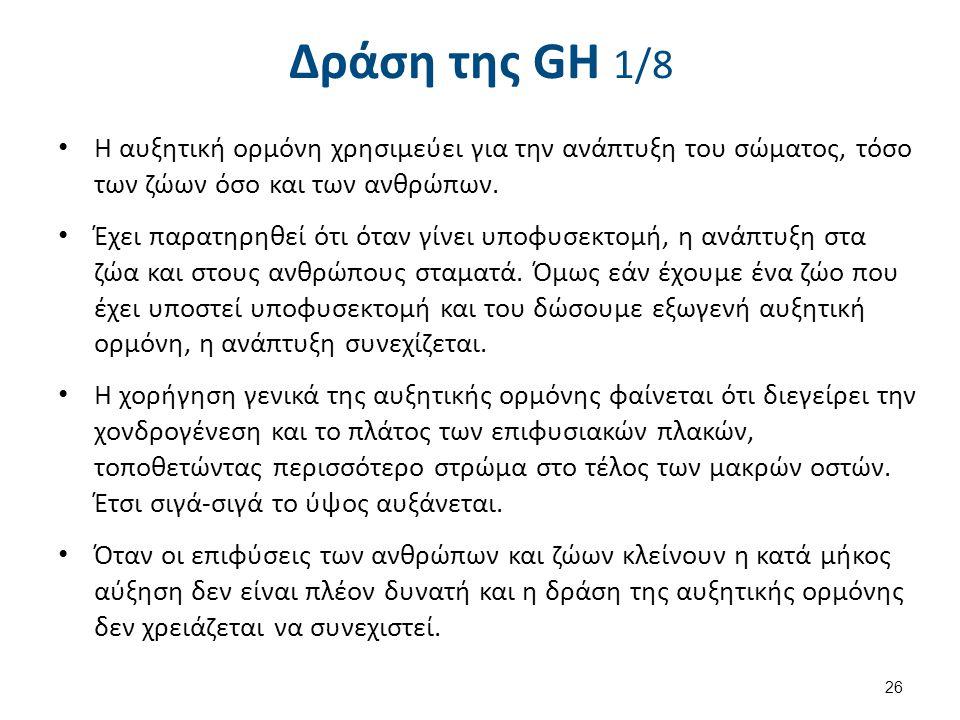 Δράση της GH 1/8 Η αυξητική ορμόνη χρησιμεύει για την ανάπτυξη του σώματος, τόσο των ζώων όσο και των ανθρώπων. Έχει παρατηρηθεί ότι όταν γίνει υποφυσ