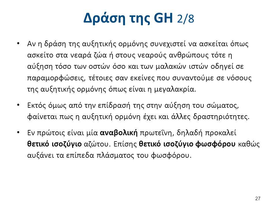Δράση της GH 2/8 Αν η δράση της αυξητικής ορμόνης συνεχιστεί να ασκείται όπως ασκείτο στα νεαρά ζώα ή στους νεαρούς ανθρώπους τότε η αύξηση τόσο των ο