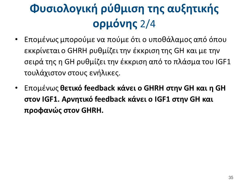 Φυσιολογική ρύθμιση της αυξητικής ορμόνης 2/4 Επομένως μπορούμε να πούμε ότι ο υποθάλαμος από όπου εκκρίνεται ο GHRH ρυθμίζει την έκκριση της GH και μ