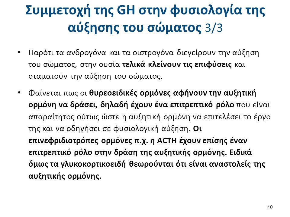 Συμμετοχή της GH στην φυσιολογία της αύξησης του σώματος 3/3 Παρότι τα ανδρογόνα και τα οιστρογόνα διεγείρουν την αύξηση του σώματος, στην ουσία τελικ