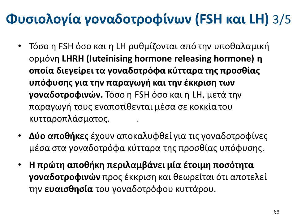 Φυσιολογία γοναδοτροφίνων (FSH και LH) 3/5 Τόσο η FSH όσο και η LΗ ρυθμίζονται από την υποθαλαμική ορμόνη LHRH (Iuteinising hormone releasing hormone)