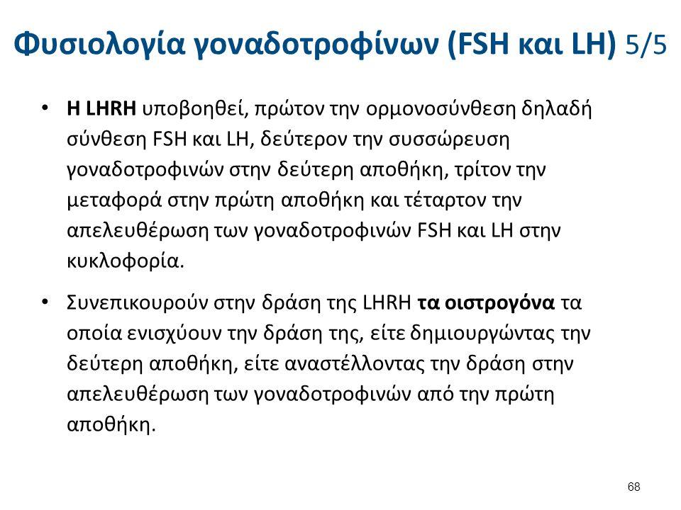 Φυσιολογία γοναδοτροφίνων (FSH και LH) 5/5 Η LHRH υποβοηθεί, πρώτον την ορμονοσύνθεση δηλαδή σύνθεση FSH και LΗ, δεύτερον την συσσώρευση γοναδοτροφινώ