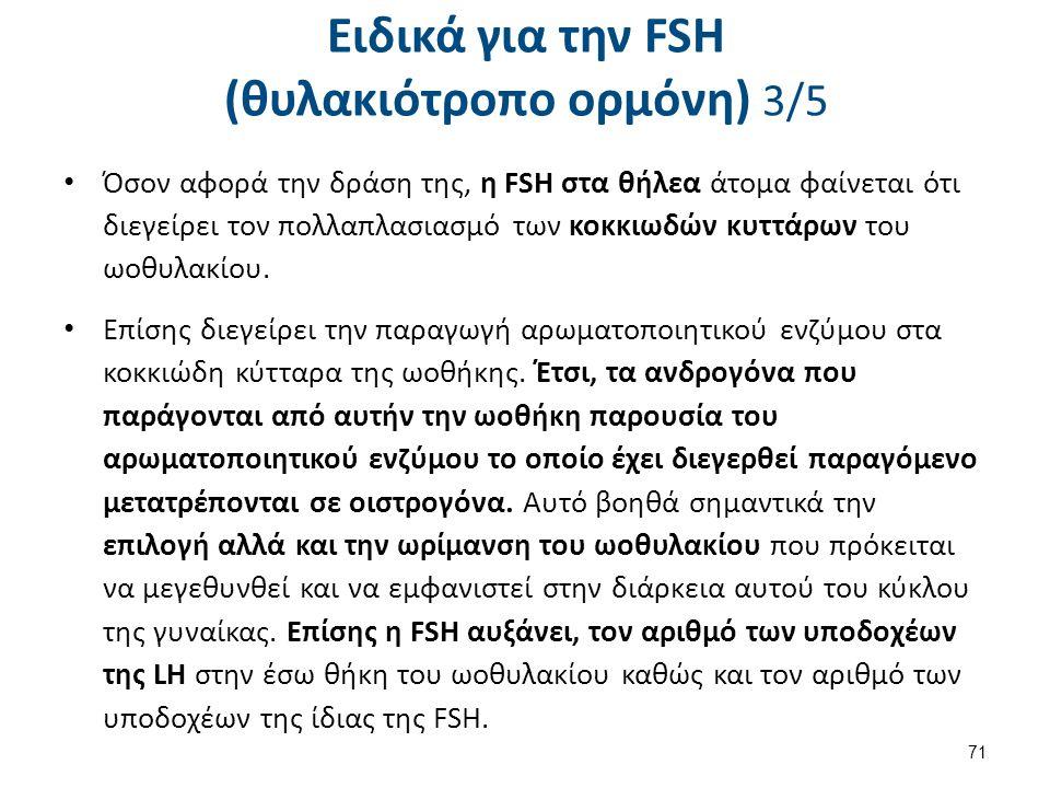 Ειδικά για την FSH (θυλακιότροπο ορμόνη) 3/5 Όσον αφορά την δράση της, η FSH στα θήλεα άτομα φαίνεται ότι διεγείρει τον πολλαπλασιασμό των κοκκιωδών κ