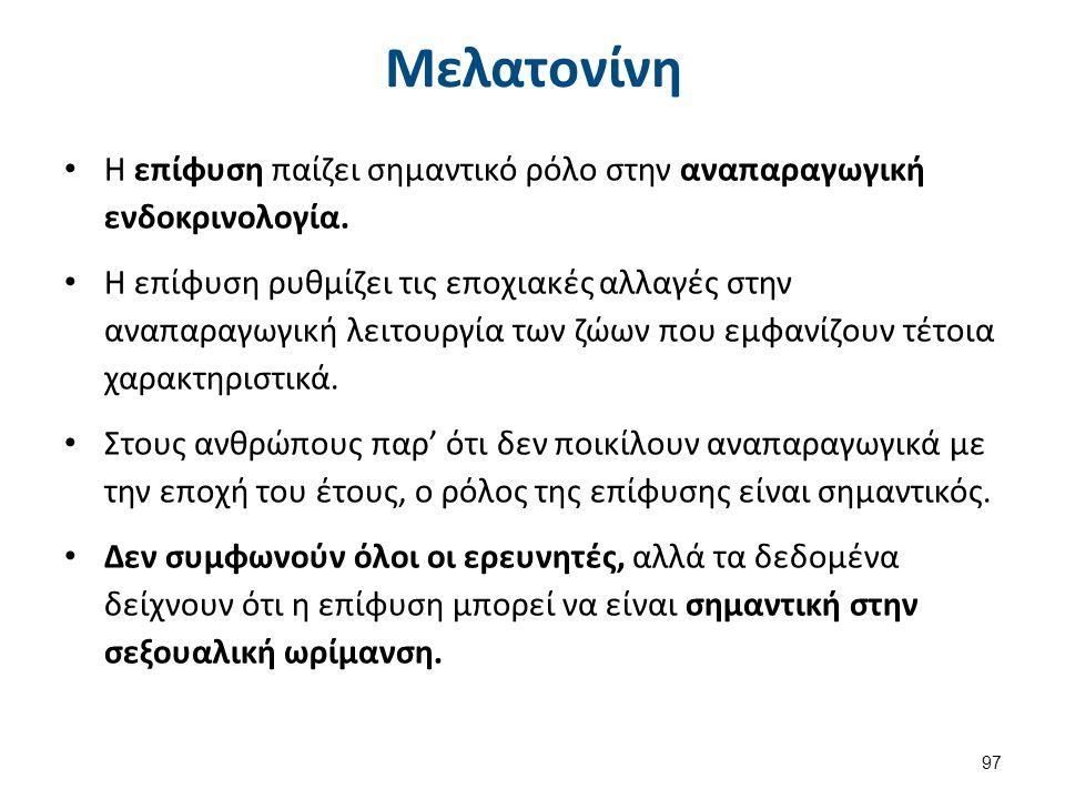 Μελατονίνη Η επίφυση παίζει σημαντικό ρόλο στην αναπαραγωγική ενδοκρινολογία. Η επίφυση ρυθμίζει τις εποχιακές αλλαγές στην αναπαραγωγική λειτουργία τ