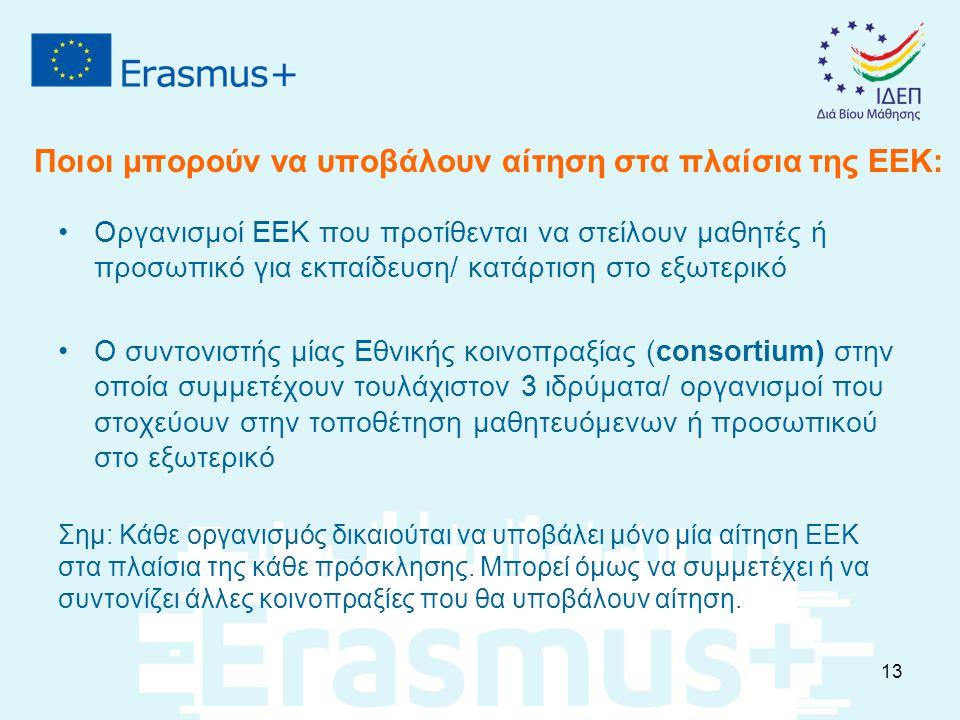 Ποιοι μπορούν να υποβάλουν αίτηση στα πλαίσια της ΕΕΚ: Οργανισμοί ΕΕΚ που προτίθενται να στείλουν μαθητές ή προσωπικό για εκπαίδευση/ κατάρτιση στο εξ