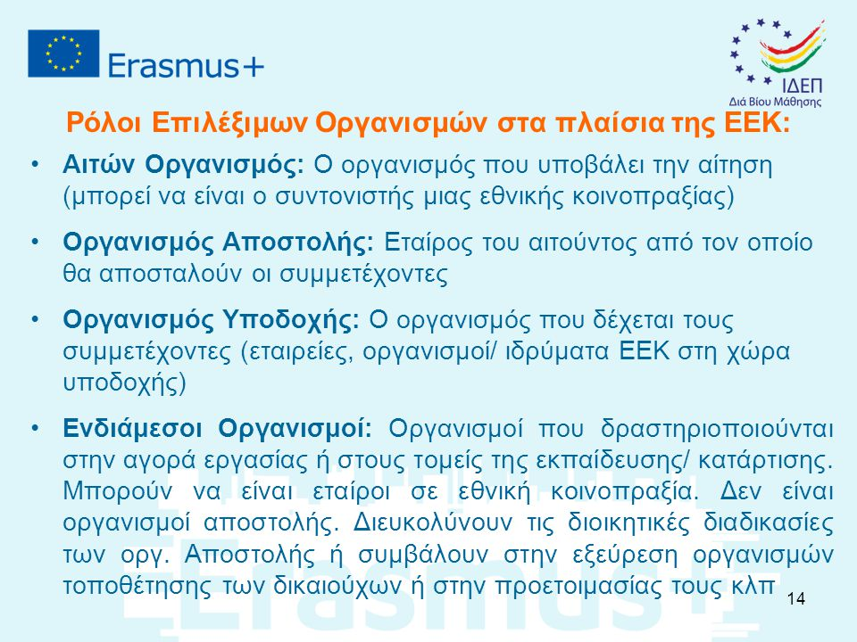 Ρόλοι Επιλέξιμων Οργανισμών στα πλαίσια της ΕΕΚ: Αιτών Οργανισμός: Ο οργανισμός που υποβάλει την αίτηση (μπορεί να είναι ο συντονιστής μιας εθνικής κο