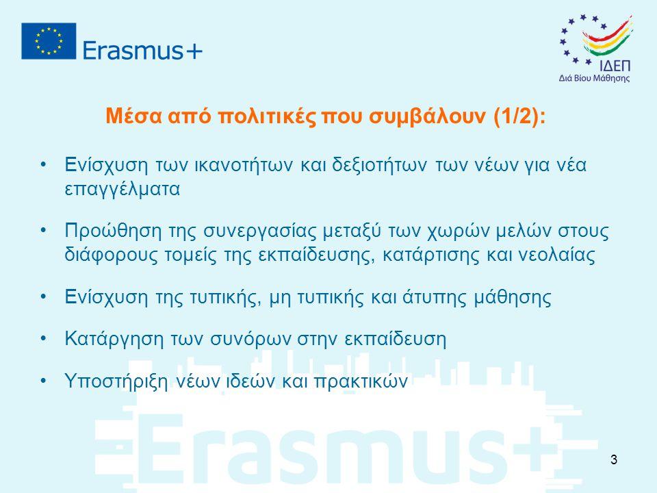 Ρόλοι Επιλέξιμων Οργανισμών στα πλαίσια της ΕΕΚ: Αιτών Οργανισμός: Ο οργανισμός που υποβάλει την αίτηση (μπορεί να είναι ο συντονιστής μιας εθνικής κοινοπραξίας) Οργανισμός Αποστολής: Εταίρος του αιτούντος από τον οποίο θα αποσταλούν οι συμμετέχοντες Οργανισμός Υποδοχής: Ο οργανισμός που δέχεται τους συμμετέχοντες (εταιρείες, οργανισμοί/ ιδρύματα ΕΕΚ στη χώρα υποδοχής) Ενδιάμεσοι Οργανισμοί: Οργανισμοί που δραστηριοποιούνται στην αγορά εργασίας ή στους τομείς της εκπαίδευσης/ κατάρτισης.