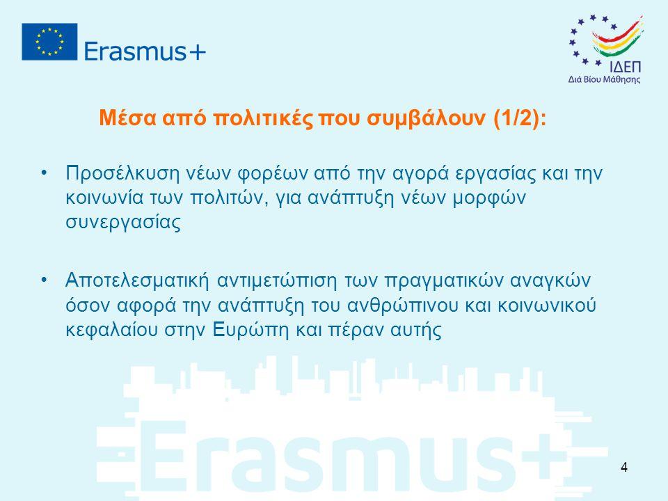 Προσέλκυση νέων φορέων από την αγορά εργασίας και την κοινωνία των πολιτών, για ανάπτυξη νέων μορφών συνεργασίας Αποτελεσματική αντιμετώπιση των πραγματικών αναγκών όσον αφορά την ανάπτυξη του ανθρώπινου και κοινωνικού κεφαλαίου στην Ευρώπη και πέραν αυτής Μέσα από πολιτικές που συμβάλουν (1/2): 4