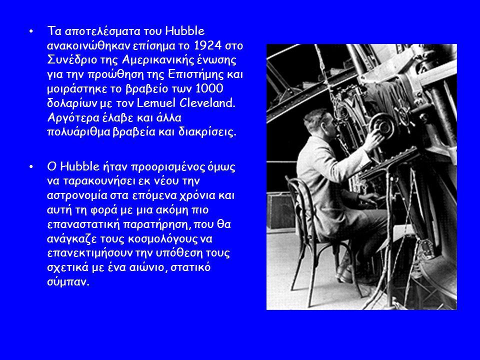 Τα αποτελέσματα του Hubble ανακοινώθηκαν επίσημα το 1924 στο Συνέδριο της Αμερικανικής ένωσης για την προώθηση της Επιστήμης και μοιράστηκε το βραβείο των 1000 δολαρίων με τον Lemuel Cleveland.