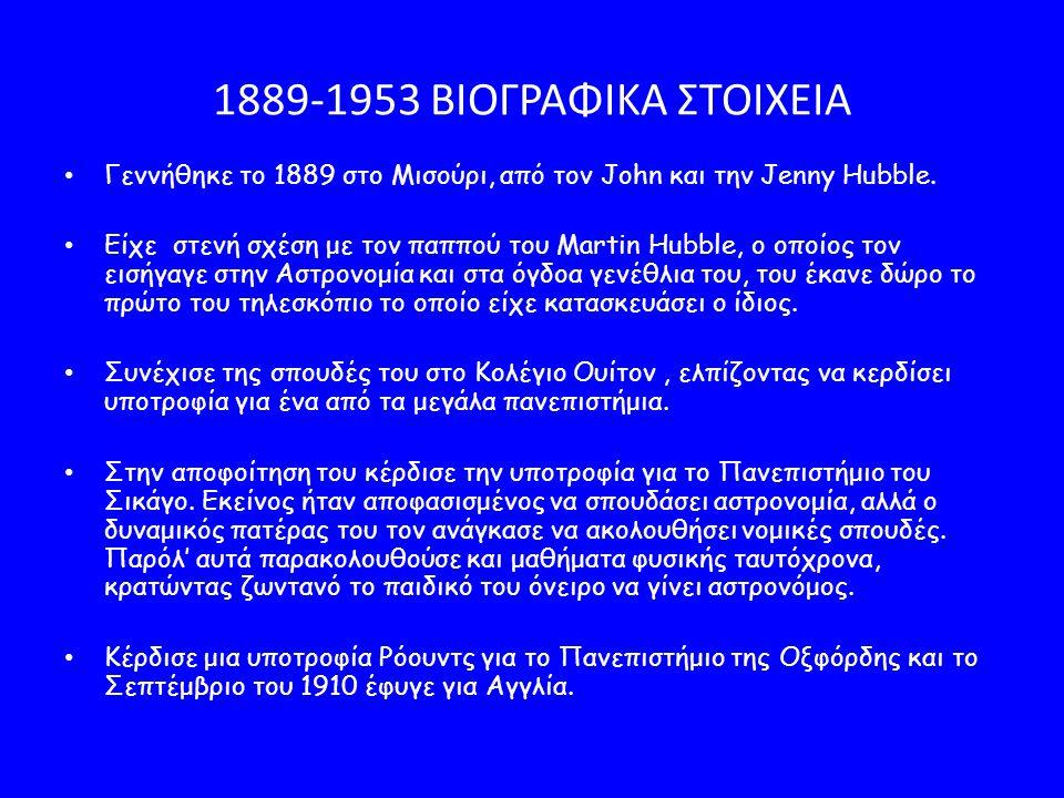 1889-1953 ΒΙΟΓΡΑΦΙΚΑ ΣΤΟΙΧΕΙΑ Γεννήθηκε το 1889 στο Μισούρι, από τον John και την Jenny Hubble.