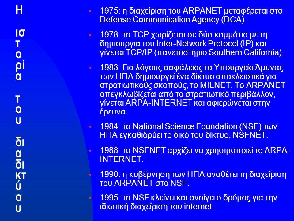 Η ισ τ ο ρί α τ ο υ δι α δι κτ ύ ο υ 1975: η διαχείριση του ARPANET μεταφέρεται στο Defense Communication Agency (DCA).
