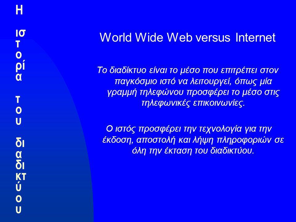 Η ισ τ ο ρί α τ ο υ δι α δι κτ ύ ο υ World Wide Web versus Internet Το διαδίκτυο είναι το μέσο που επιτρέπει στον παγκόσμιο ιστό να λειτουργεί, όπως μία γραμμή τηλεφώνου προσφέρει το μέσο στις τηλεφωνικές επικοινωνίες.