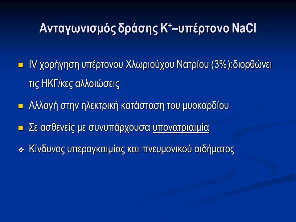 Ανταγωνισμός δράσης Κ + –υπέρτονο NaCl IV χορήγηση υπέρτονου Χλωριούχου Νατρίου (3%):διορθώνει τις ΗΚΓ/κες αλλοιώσεις IV χορήγηση υπέρτονου Χλωριούχου Νατρίου (3%):διορθώνει τις ΗΚΓ/κες αλλοιώσεις Αλλαγή στην ηλεκτρική κατάσταση του μυοκαρδίου Αλλαγή στην ηλεκτρική κατάσταση του μυοκαρδίου Σε ασθενείς με συνυπάρχουσα υπονατριαιμία Σε ασθενείς με συνυπάρχουσα υπονατριαιμία  Κίνδυνος υπερογκαιμίας και πνευμονικού οιδήματος