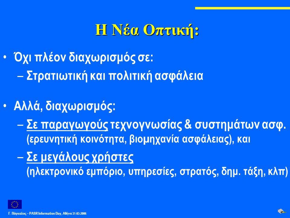 Γ. Πάγκαλος – PASR Ιnformation Day, Αθήνα 31-03-2006 Η Νέα Οπτική: Όχι πλέον διαχωρισμός σε: – Στρατιωτική και πολιτική ασφάλεια Αλλά, διαχωρισμός: –