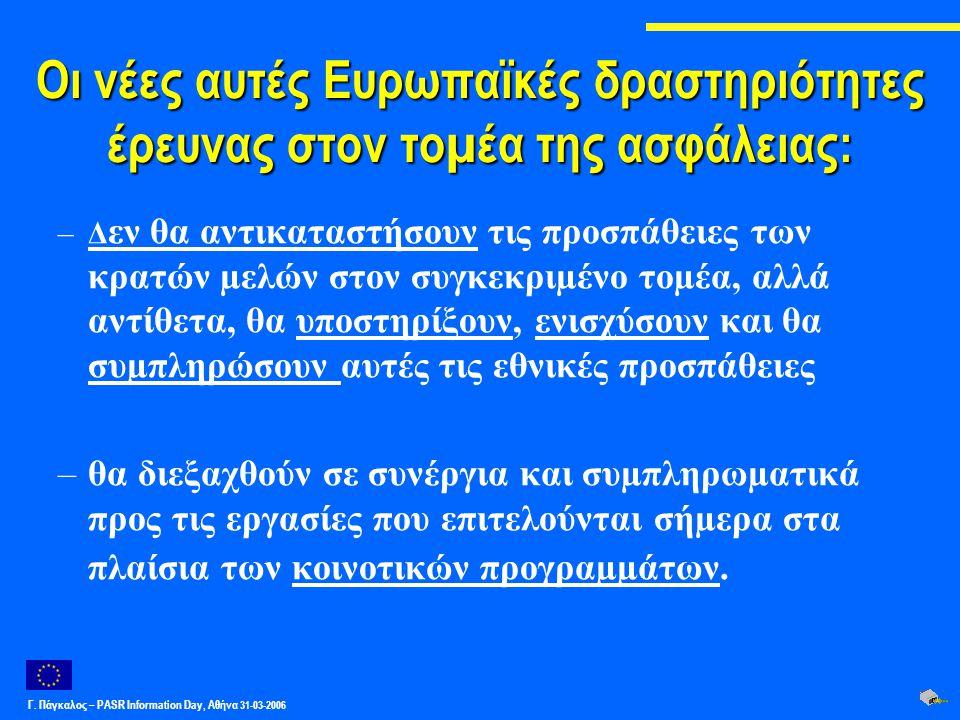 Γ. Πάγκαλος – PASR Ιnformation Day, Αθήνα 31-03-2006 Οι νέες αυτές Ευρωπαϊκές δραστηριότητες έρευνας στον τοµέα της ασφάλειας: –Δ εν θα αντικαταστήσου