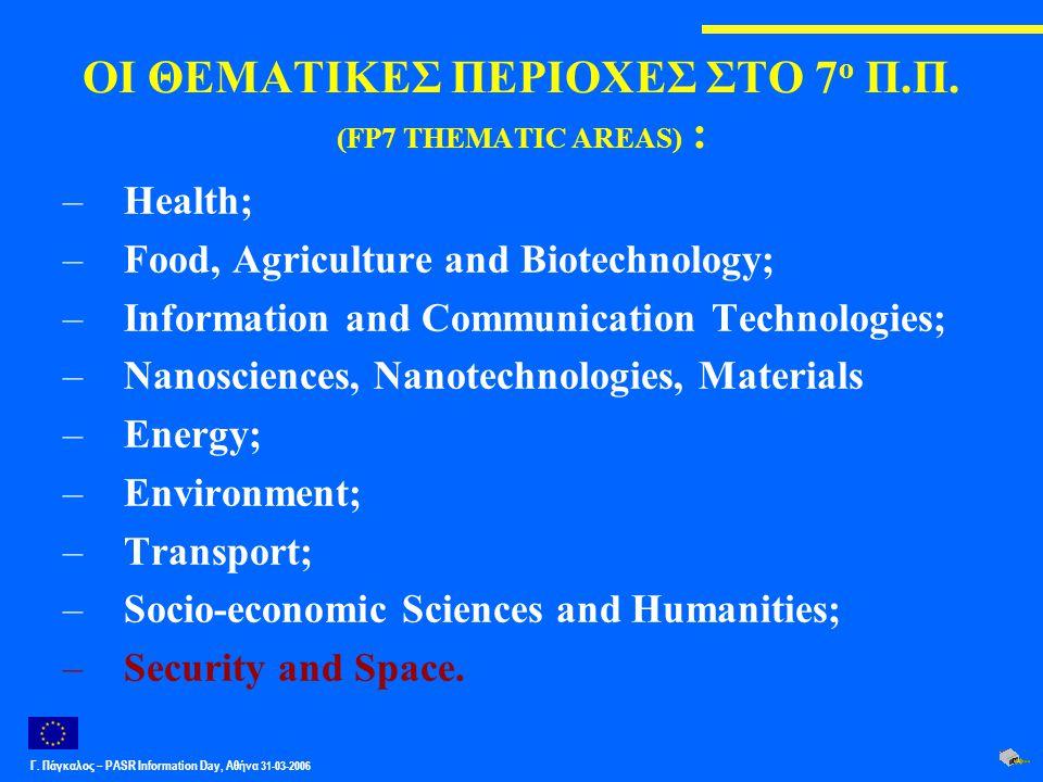 Γ. Πάγκαλος – PASR Ιnformation Day, Αθήνα 31-03-2006 ΟΙ ΘΕΜΑΤΙΚΕΣ ΠΕΡΙΟΧΕΣ ΣΤΟ 7 ο Π.Π. (FP7 THEMATIC AREAS) : –Health; –Food, Agriculture and Biotech