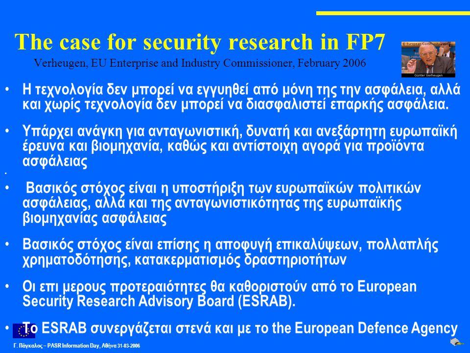 Γ. Πάγκαλος – PASR Ιnformation Day, Αθήνα 31-03-2006 Η τεχνολογία δεν μπορεί να εγγυηθεί από μόνη της την ασφάλεια, αλλά και χωρίς τεχνολογία δεν μπορ