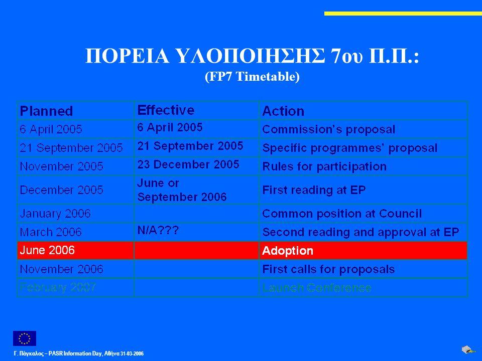 Γ. Πάγκαλος – PASR Ιnformation Day, Αθήνα 31-03-2006 ΠΟΡΕΙΑ ΥΛΟΠΟΙΗΣΗΣ 7ου Π.Π.: (FP7 Timetable)