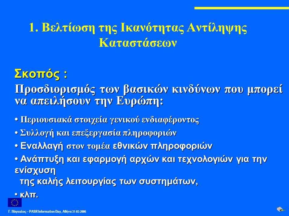 Γ. Πάγκαλος – PASR Ιnformation Day, Αθήνα 31-03-2006 1. Βελτίωση της Ικανότητας Αντίληψης Καταστάσεων Σκοπός : Προσδιορισμός των βασικών κινδύνων που