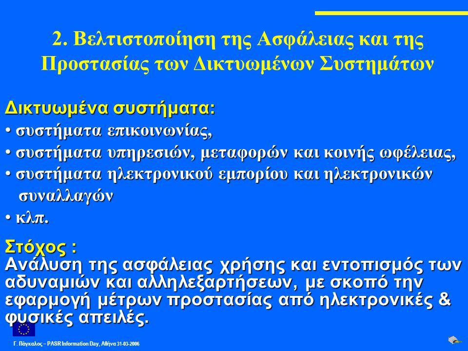 Γ. Πάγκαλος – PASR Ιnformation Day, Αθήνα 31-03-2006 2. Βελτιστοποίηση της Ασφάλειας και της Προστασίας των Δικτυωμένων Συστημάτων Δικτυωμένα συστήματ
