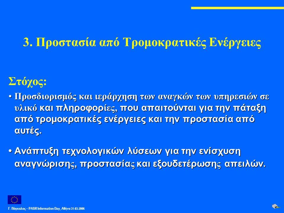 Γ. Πάγκαλος – PASR Ιnformation Day, Αθήνα 31-03-2006 3. Προστασία από Τρομοκρατικές Ενέργειες Στόχος: Προσδιορισμός και ιεράρχηση των αναγκών των υπηρ