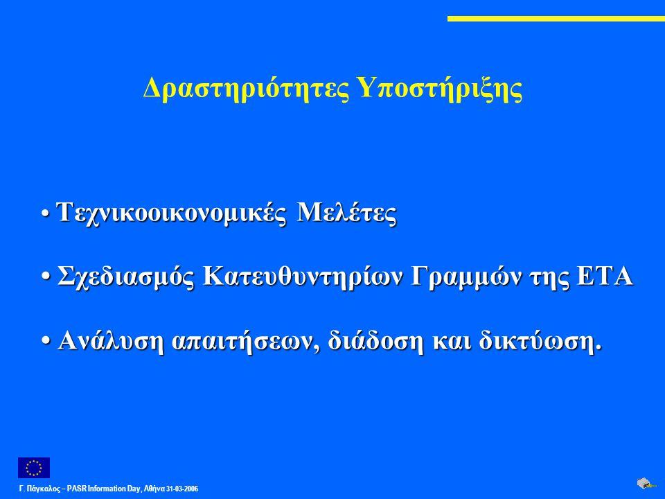 Γ. Πάγκαλος – PASR Ιnformation Day, Αθήνα 31-03-2006 Δραστηριότητες Υποστήριξης Τεχνικοοικονομικές Μελέτες Τεχνικοοικονομικές Μελέτες Σχεδιασμός Κατευ
